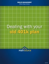 Dealing with your old 401k plan - MainSource Bank