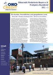 Oikocredit Förderkreis Bayern e.V. Frühjahrs-Rundbrief 2011 – 1 Inhalt