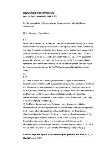 ERSTES WOHNUNGSBAUGESETZ - Architektur macht Schule