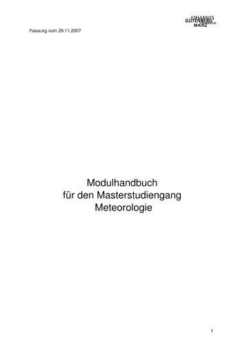 Modulhandbuch Master of Science Meteorologie - im Fachbereich ...