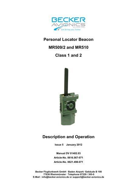 Personal Locator Beacon MR509/2 and MR510     - Becker com tw