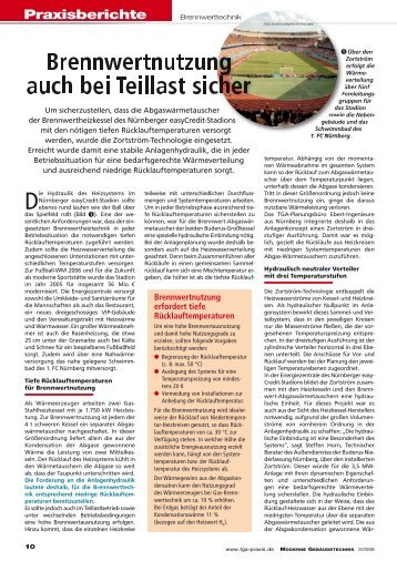 Brennwertnutzung auch bei Teillast sicher - tga-praxis.de