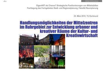 urbaner und kreativer Räume - Fakultät Raumplanung - TU Dortmund