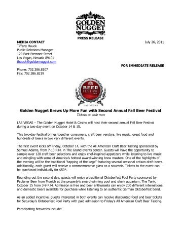 Golden Nugget Brews Up More Fun with Second Annual Fall Beer ...