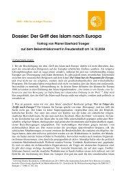 Der Griff des Islam nach Europa - HMK - Hilfe für verfolgte Christen