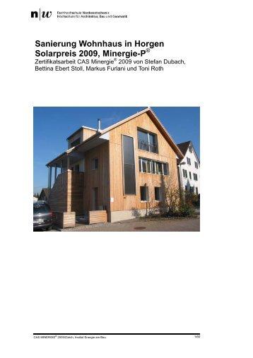 Sanierung Wohnhaus in Horgen Solarpreis 2009, Minergie-P