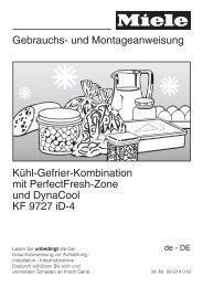 Gebrauchsanweisung Miele Kühl-/Gefrier Kombination ... - VS Elektro