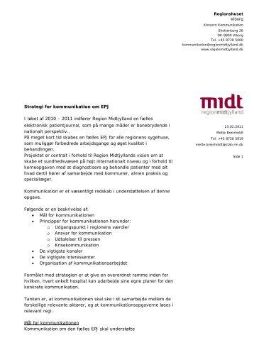 Strategi for kommunikation om EPJ I løbet af 2010 - Region Midtjylland