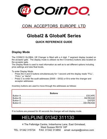 coinco global 2 mdb plus manual