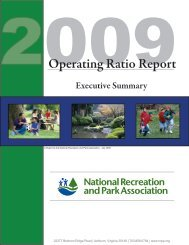 Operating Ratio Report - National Recreation and Park Association
