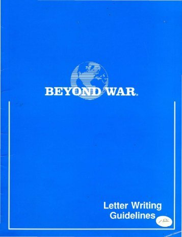 BEYOND WAR: Letter Writing Guidelines