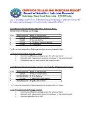 CENTREFORCELLULARANDMOLECULARBIOLOGY - CCMB