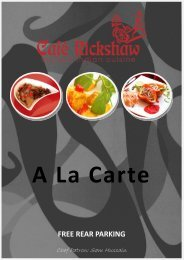 A La Carte Menu - Cafe Rickshaw