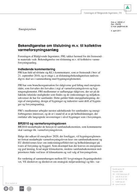 Læs FRI's høringssvar - Foreningen af Rådgivende Ingeniører F.R.I.