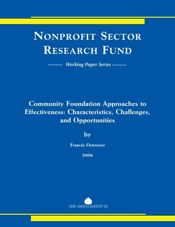 Community Foundation Approaches to Effectiveness