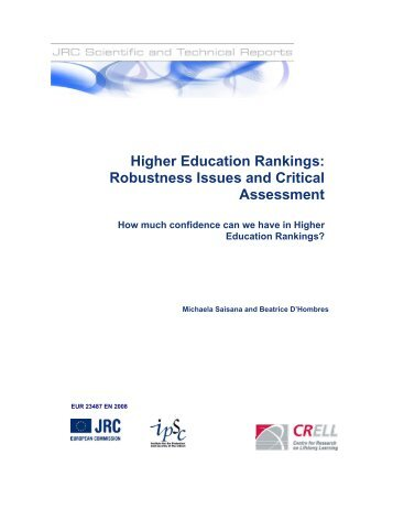Higher Education Rankings: Robustness Issues ... - GlobalHigherEd