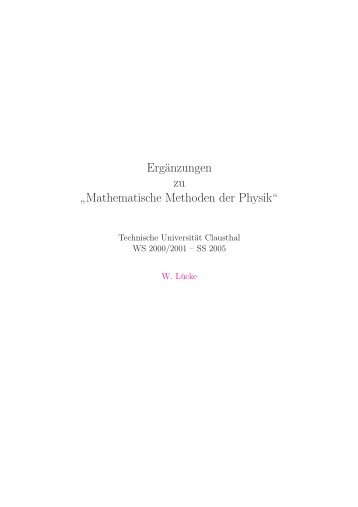 Mathematische Methoden der Physik - Wolfgang-luecke.de
