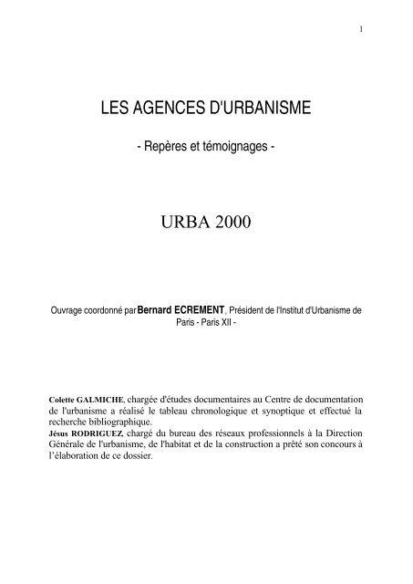Les Agences Durbanisme Repãres Et Tãmoignages 2004 Ramau