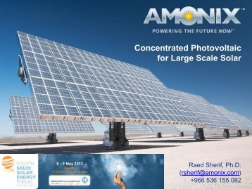 Raed Sherif – Concentrated Photovoltaic for Large Scale Solar ...