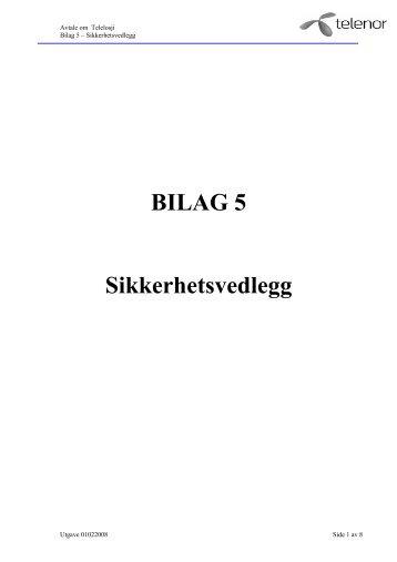 BILAG 5 Sikkerhetsvedlegg - Telenor