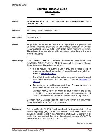 CalFresh Special Notice 13-02 - HHSA Program Guides