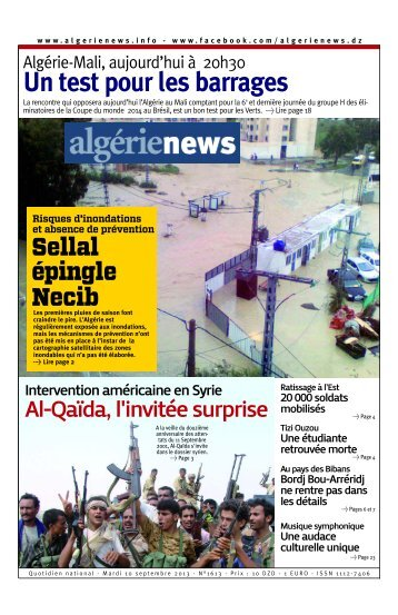 Fr-10-09-2013 - Algérie news quotidien national d'information