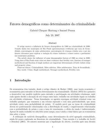 Fatores demográficos como determinantes da criminalidade