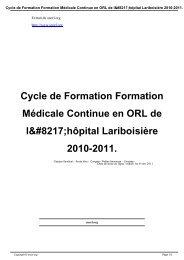 Cycle de Formation Formation Médicale Continue en ORL de l'