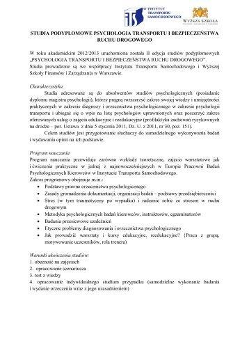 Studia podyplomowe Psychologia Transportu i Bezpieczeństwa ...