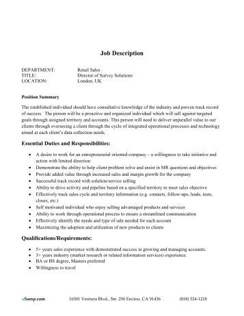 purpose of a job description Definition of a position description za well-written position description is one which clearly, concisely and accurately  zthe job purpose statement is exactly .
