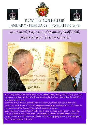 Click here to read Jan / February 2012 newsletter - Romiley Golf Club