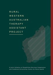 Rural WA Therapy Assistant Project 2002 - WA Country Health Service