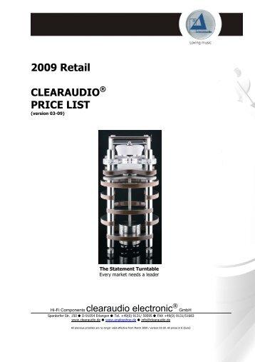 2009 Retail CLEARAUDIO® PRICE LIST