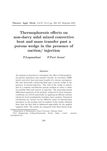 Thermophoresis effects on non-darcy mhd mixed convective heat ...