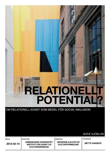 RELATIONELLT POTENTIAL? - Kenneth A. Balfelt