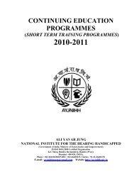 Short Term Training Programmes - Ali Yavar Jung National Institute ...
