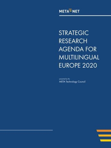 strategic research agenda for multilingual europe 2020 - LT-Innovate