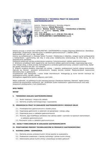 organizacja i technika pracy w zakładzie gastronomicznym