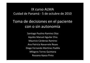 Toma de decisiones en el paciente con o sin autonomía