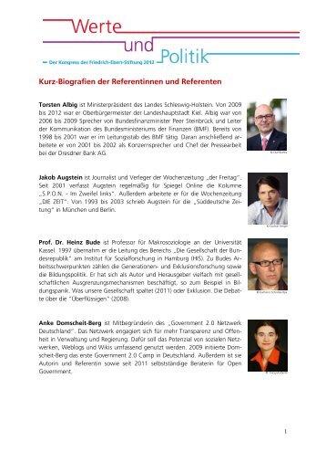 Kurz-Biografien der Referentinnen und Referenten - Werte und Politik