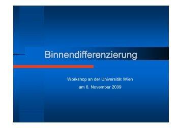 Binnendifferenzierung im Mathematikunterricht - Universität Wien