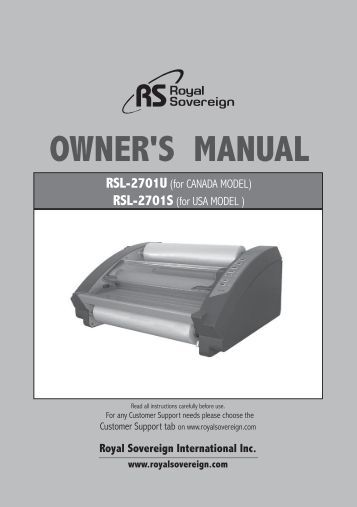 OWNER'S MANUAL - Royal Sovereign