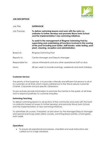 Job Description Le Supervisor Wave Leisure
