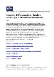 Les coûts de l'information - Brochure réalisée par le ... - CRRM à