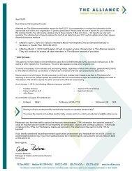 The Alliance Membership Report - April 2012
