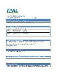 PRESTANDADEKLARATION ENLIGT EU 305/2011 Nr 17011 - Finja
