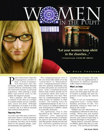 Women in the Pulpit - Plain Truth Ministries