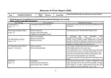 Abstract of Final Report 2005