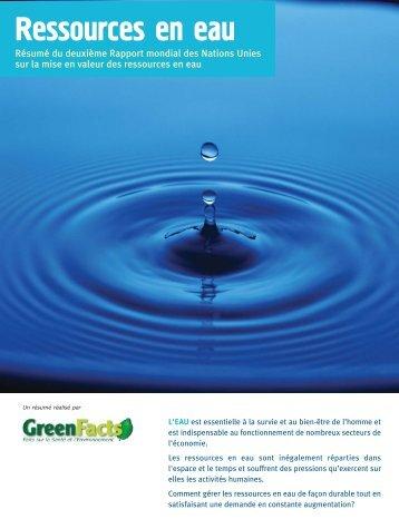 Ressources en eau - GreenFacts