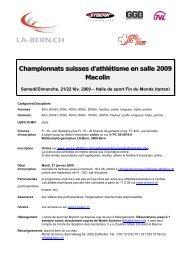 Championnats suisses d'athlétisme en salle 2009 Macolin - LA-Bern